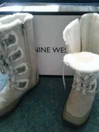 Nine West fur line off white suede winter boots