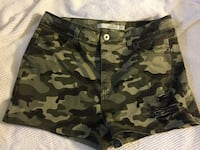 Green and black camouflage shorts