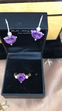 heart shape. Real14k ameythst ring and earrings Revere, 02151