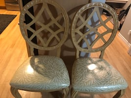 TWO NEW DETAILED WOOD CHAIRS
