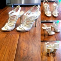 Cream and Light Gold Strappy Heels  549 km