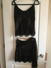LE CHATEAU GORGEOUS BLACK LACE WITH SEQUINS AND GLASS CUT BEADS