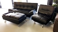 black leather 2-seat sofa and sofa chair North Highlands, 95660