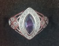 Luxury Oval Amethyst and cz sterling silver ring Baltimore