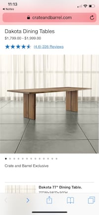 "Crate and Barrel Dakota 77"" dining table and bench Washington, 20009"