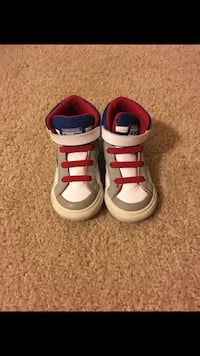 pair of white-and-red Adidas sneakers Durham, 27707