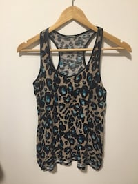 black and gray leopard print tank top with leather / Camisole léopard Dynamite Montréal, H3M 1G9