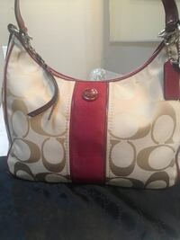 white and red Coach monogram leather hobo bag Riverside, 92505