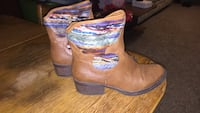 Pair of brown-and-purple leather chunky-heeled boots