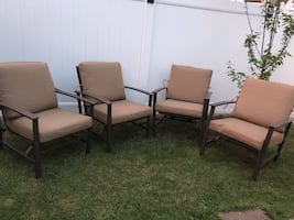Four Patio Chairs with Cushions