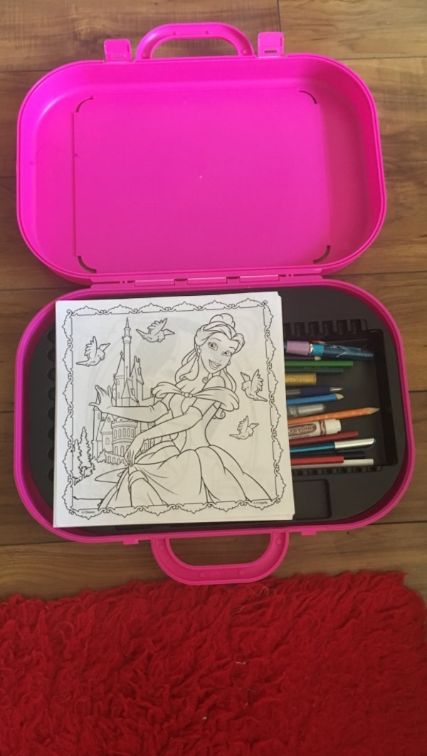 pink plastic case with coloring material set