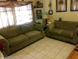 Sofa and loveseat green