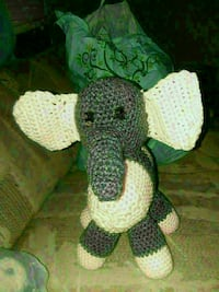 white and black elephant amigurumi doll