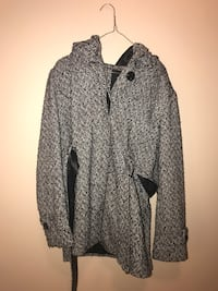 Printed hooded peacoat - price not negotiable - pick up only Germantown, 20874