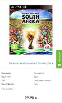 Playstation 3 South Africa World Cup Efsane Futbol Oyunu PS3 Esfane