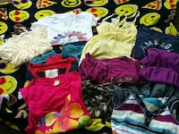 assorted red, purple, and white apparels