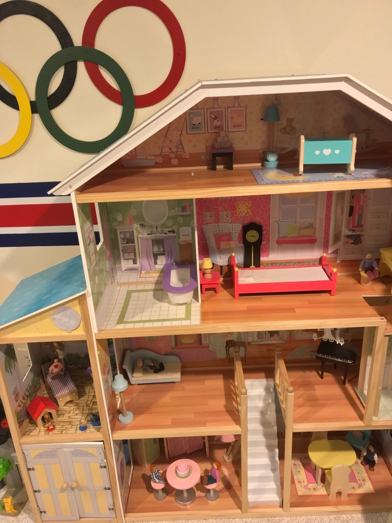 Used, brown and white wooden dollhouse for sale  Holtsville