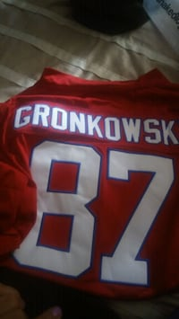 red and white Gronkowski 87 jersey