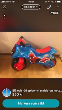 toddlers Spider-Man motorcykel ride-on leksak skärmdump Malmö, 214 54