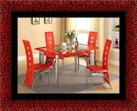 Glass red dining table with leather chairs Temple Hills