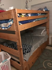 brown wooden bunk bed frame Sterling, 20166