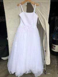 White spaghetti strap formal dress for wedding or quince.  Brand new in bag, never been altered.  Size 14 La Mirada, 90638