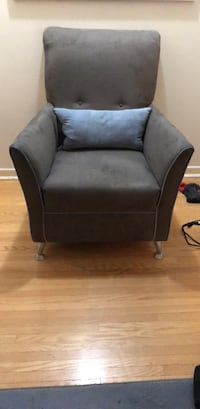 Armchair. Needs to go. Best offer. Great condition. Grey suede. Pillow included  Toronto, M3A 2P5