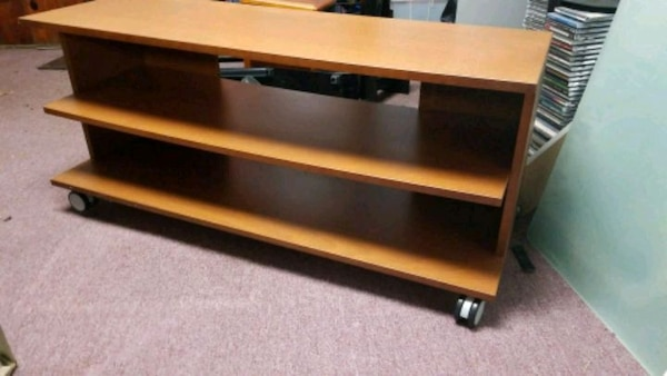 Tv stand brown wooden 3-layer shelf