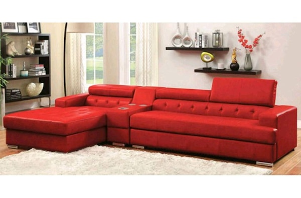 Red Leather Sectional Sofa w Speaker Console