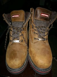 pair of brown Craftsman leather work boots