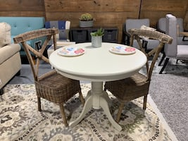 "East West FurnAnti White 36"" Table 2 Safavieh Katel Wicker chairs."