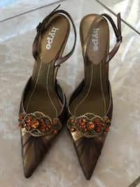Pair of brown hype pointed-toe heeled sandals Miami, 33157