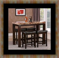5pc pub table with 4 stools Fairfax