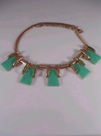 Gold tone and faux emerald necklace  Toronto, M6L 1A4