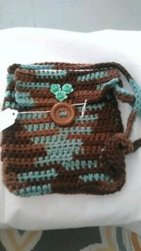 brown and blue knitted bag Commerce, 90040
