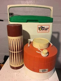 Vintage Oscar by Coleman Cooler and 2 thermoses Nutley
