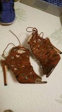 pair of brown leather open toe ankle strap heels Abilene, 79605