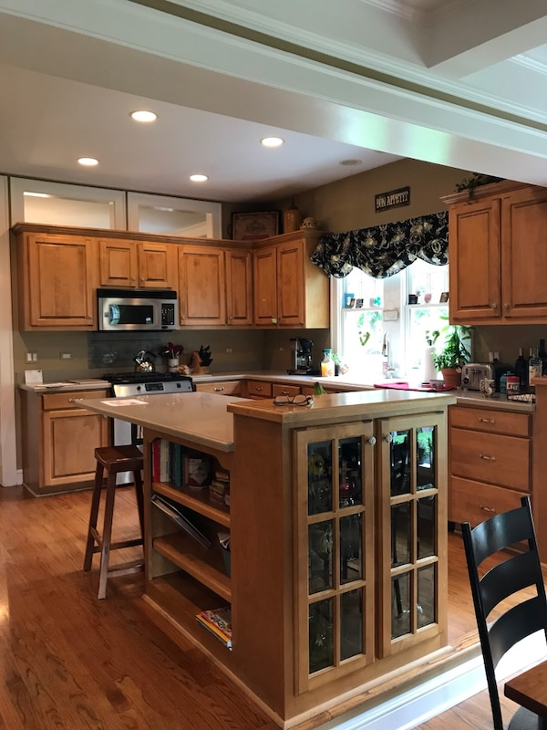 Kitchen cabinets, family room built-ins & appliances for sale as is.