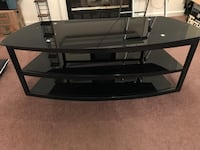 black glass top TV stand