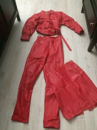 Red Hot leather 3 pieces for 25 .pants and skirt fits like a size 5, jacket M 118 mi