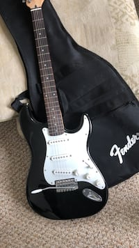 Squier black and white stratocaster electric guitar with kit Hubbardston, 01452