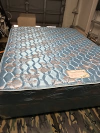 Quilted white and blue floral Quinn size mattress and spring box.  Hollywood, 33020
