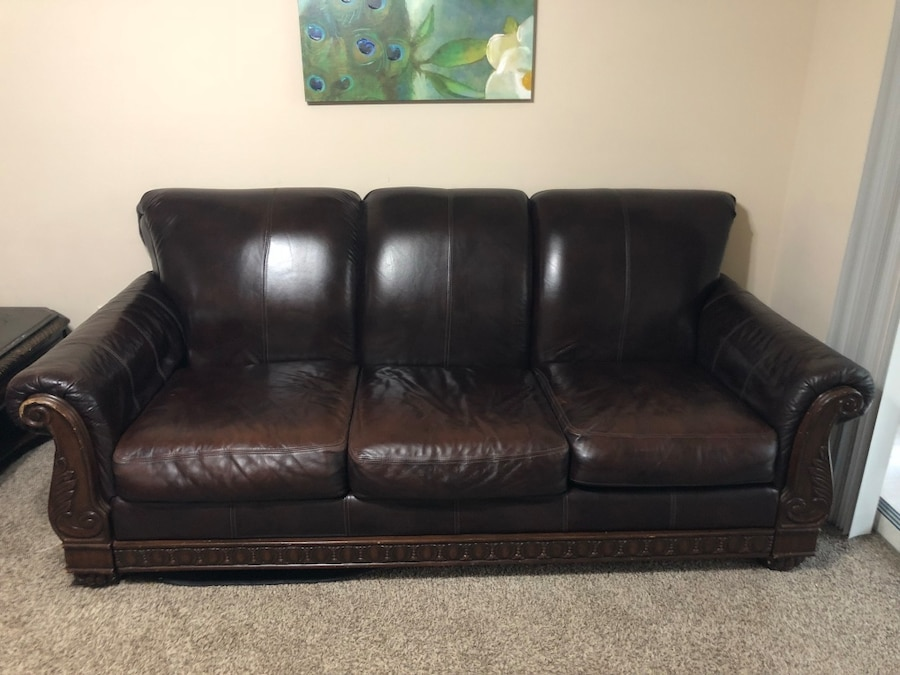 Dark Brown Leather 3 Piece Sofa Set