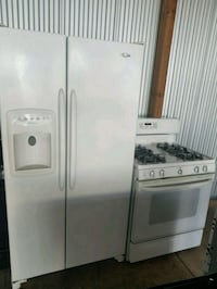 white side-by-side refrigerator and gas stove  Temple Hills, 20748