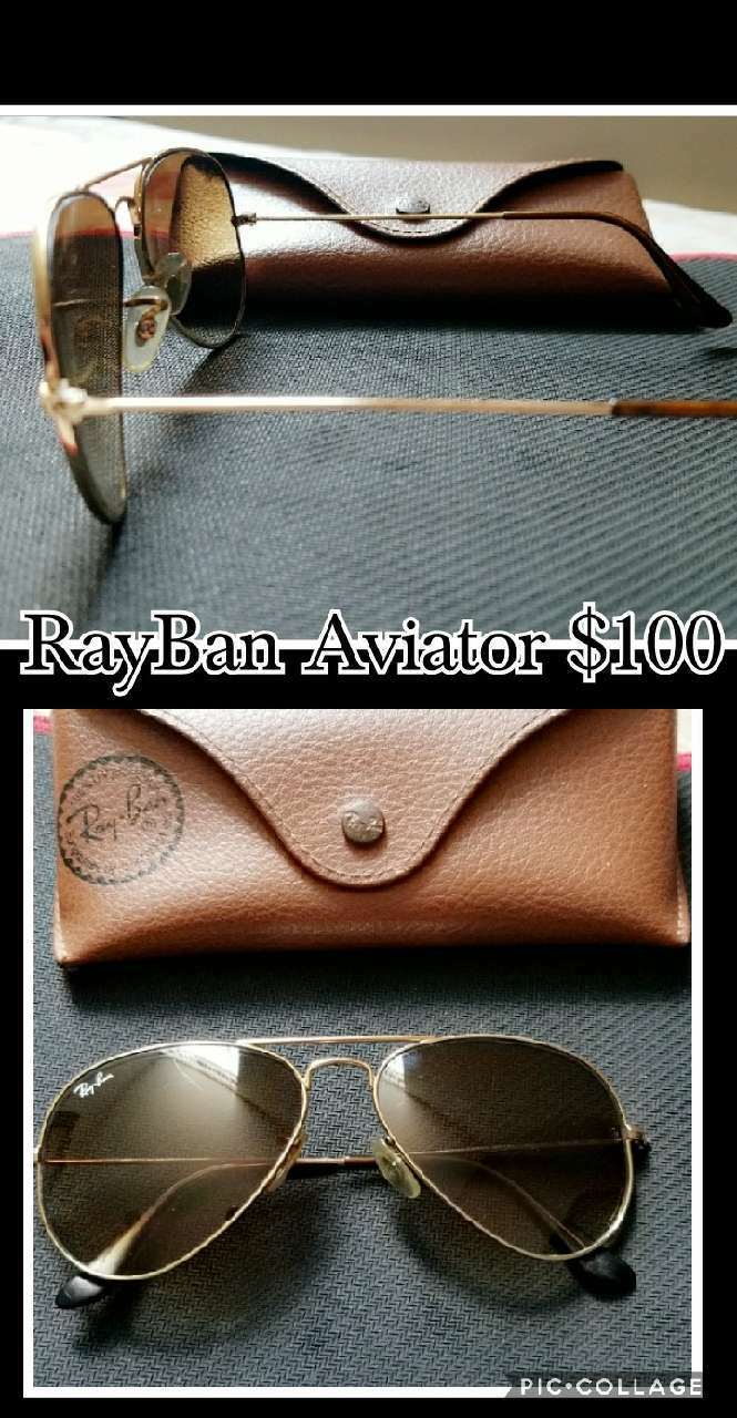 brass frame Ray-Ban aviator sunglasses with brown leather case