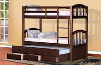 SINGLE OVER SINGLE BUNKBED WITH TRUNDLE AND DRAWERS ESPRESSO Toronto, M6N 3G1