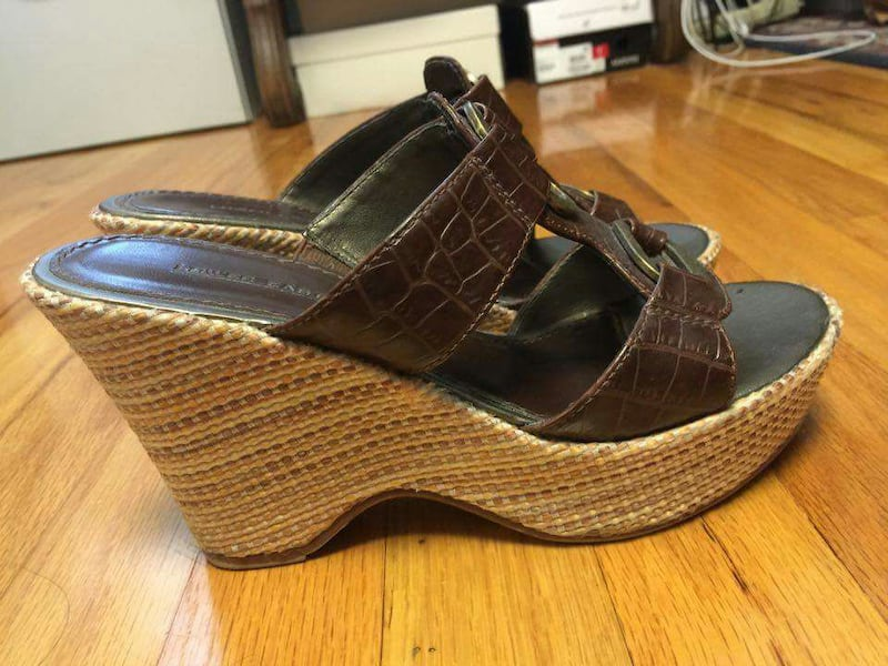 black and brown open toe wedges 2a36f802-891b-42f3-8450-b1561b828380