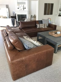 Brown leather sectional sofa with ottoman Carlsbad, 92009