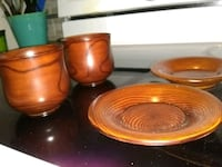 Set of 2 wooden cups with saucers Ottawa, K1C 4R4