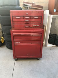 red and gray Craftsman tool chest Chino, 91710